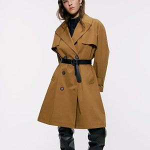 Zara BUTTONED TRENCH COAT-BROWN-7240/642-XS, L